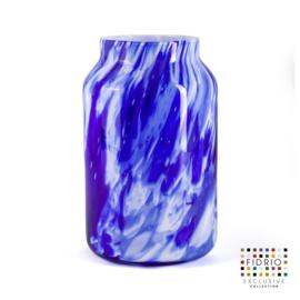 Design vaas Fidrio - Bloom Delfts blue - gekleurd glas - mondgeblazen - 30 cm hoog --