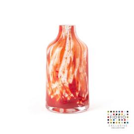 Design vaas Fidrio - glas kunst sculptuur - bottle - Rosso - mondgeblazen - 16 cm hoog
