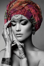 80 x 120 - Glasschilderij - schilderij fotokunst - Vrouw Henna - foto print op glas --