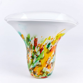Design vaas Fidrio - La Nucia - Fiorito - gekleurd glas kunst - mondgebazen - 30 cm hoog