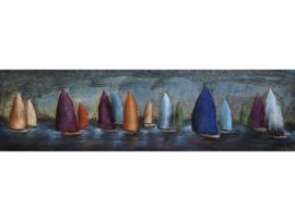 180 x 50 cm - 3D art Schilderij Metaal - Zeilboten - handgeschilderd