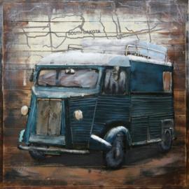 80 x 80 cm - 3D art Schilderij oldtimer Metaal en hout - Oldtimer bus Citroën HY - handgeschilderd