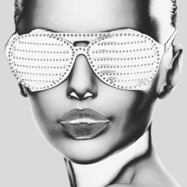 120 x 120 cm - Glasschilderij vrouw lippen - schilderij fotokunst - UV geprint - foto print op glas