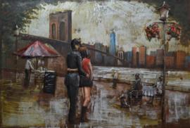 3D Schilderij Metaal - Romantiek New York - 120x80 cm