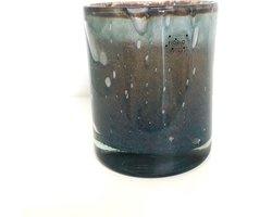 Design vaas Cilinder Denim - Fidrio UNI COLOUR - glas, mondgeblazen bloemenvaas - diameter 16,5 cm hoogte 13,5 cm