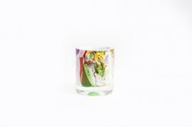 Design vaas Fidrio - glas kunst sculptuur - cilinder - Mixed colours - mondgeblazen - 11 cm hoog --