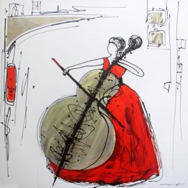 Olieverfschilderij - Viool Rode Jurk - 100x100 cm
