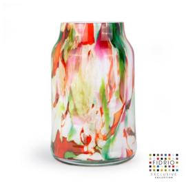 Design vaas Fidrio - glas kunst sculptuur - bloom - mixed colours - mondgeblazen - 30 cm hoog --