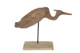 Houten kunst - Beeld - sculptuur - houten ijsvogel - drijfhout naturel