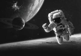 Glasschilderij - astronaut - 160x110 cm