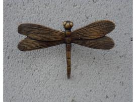 Beeld brons - Tuinbeeld - bronzen beeld - libelle - Bronzartes - 7 cm hoog - voor huis en tuin --