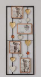 25 x 60 cm - wanddecoratie schilderij metaal - Frame Art - hartjes en fotolijstjes