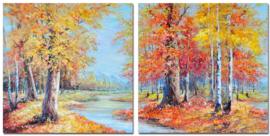 60 x 60 cm - Olieverfschilderij 2-luik - Herfst - handgeschilderd