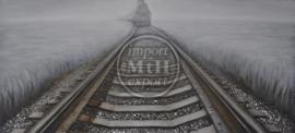 180 x 80 cm - Olieverfschilderij - Op het spoor - olie op canvas --
