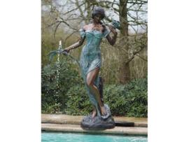 Tuinbeeld - groot bronzen beeld - vrouw met bloemen fontein - Bronzartes