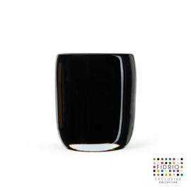 Design vaas  - Fidrio AMBER/LAGOON - glas, mondgeblazen bloemenvaas - diameter 13 cm hoogte 16 cm