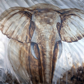 Olieverfschilderij - olifant - 100x100 cm