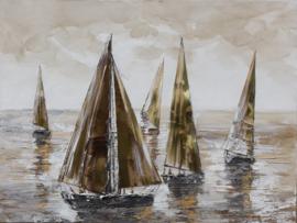 100 x 100 cm - Olieverfschilderij - Zeilboten - handgeschilderd