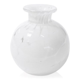 Design vaas Fidrio - glas kunst sculptuur - bolvase - White granulat - mondgeblazen - 8 cm diep --