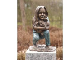 Tuinbeeld - bronzen beeld - Meisje met olifantje - Bronzartes - 38 cm hoog