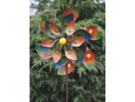 Metalen Tuinsteker - windmolen - Kleurrijke bloem