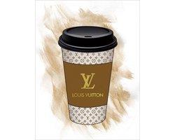 60 x 80 cm - Glasschilderij - Louis Vuitton koffiebeker - Brands & Fashion