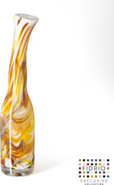 Design bottle Bended - Fidrio MUSTARD - glas, mondgeblazen - hoogte 45 cm --