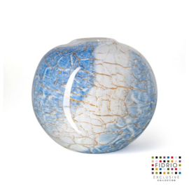Design vaas Fidrio - glas kunst sculptuur - bolvase - Golden wire - mondgeblazen - 20 cm hoog