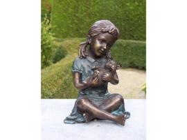 Tuinbeeld Meisje met Teddybeer