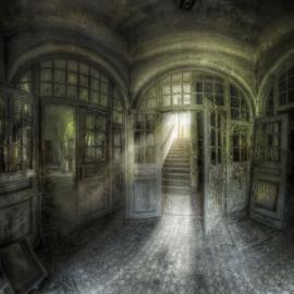 100 x 100 cm - Glasschilderij - schilderij fotokunst architectuur - Verlaten gebouw - foto print op glas --