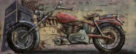 150 x 60 cm - 3D art Schilderij Metaal Motor - metaalschilderij - handgeschilderd