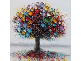 100 x 100 cm - Olieverf schilderij - schilderij kleurrijke boom - natuur handgeschilderd
