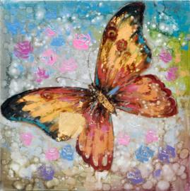 100 x 100 cm - Olieverfschilderij - Oranje vlinder - natuur handgeschilderd