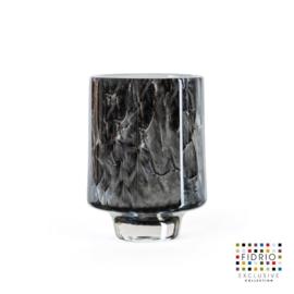 Design vaas cilinder small on base - Fidrio NERO zwart - Bloemenvaas glas, mondgeblazen- hoogte 11 cm --