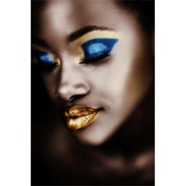 80 x 120 cm - Schilderij lippen Dibond - Foto op aluminium - Fotokunst Vrouw met make-up - Mondiart --