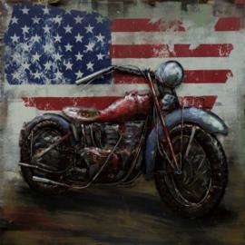 100 x 100 cm - 3D art Schilderij Metaal Motor - café racer - metaalschilderij - handgeschilderd