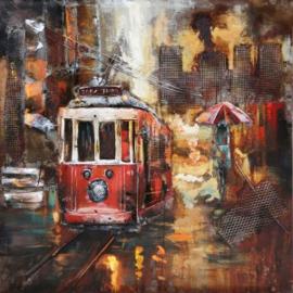 100 x 100 cm - 3D art Schilderij Metaal - Tram - handgeschilderd