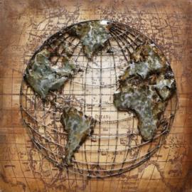 100 x 100 cm - 3D art Schilderij Metaal Wereldbol - metaalschilderij - handgeschilderd