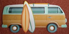 60 x 30 cm - Wanddecoratie metaal oldtimer - Busje Volkswagen T2