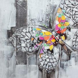 80 x 80 cm - Olieverfschilderij - Gekleurde vlinder - handgeschilderd