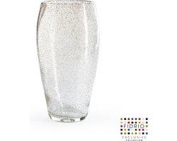 Design vaas Oval - Fidrio BUBBLES CLEAR - glas, mondgeblazen bloemenvaas - hoogte 30 cm