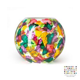 Design vaas Fidrio - glas kunst sculptuur - Bottle flowers - handgeschilderd - 25 cm diep