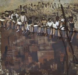 100 x 100 cm - 3D art Schilderij Metaal Bouwvakkers - metaalschilderij - handgeschilderd