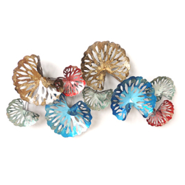 Metalen wanddecoratie - kleurrijke waaiers