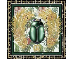 80 x 80 cm - Groene kever - Gucci - Glasschilderij - Brands & Fashion