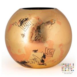 Design vaas Fidrio - glas kunst sculptuur - Bolvase Golden art - handgeschilderd - 40 cm diep