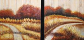 60 x 60 cm - Olieverfschilderij 2-luik - Graan weiland