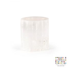 Design vaas Fidrio - kaarsenhouder - steen - Selenite - Hurricane large - 12 cm hoog --