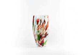 Design vaas Fidrio - glas kunst sculptuur - Oval Mixed Colours - mondgeblazen - 30 cm hoog