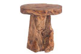 Houten bijzettafel - boomstronk - antiek bruin